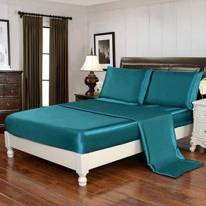 4pcs Silky Soft Luxury Bedding Cover Teal